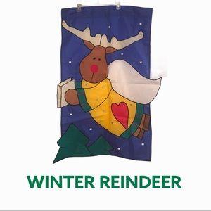 Outdoor Flag Winter Reindeer Angel